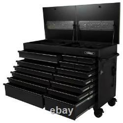 63 W Rolling Work Bench 15-Drawer Stainless Steel Top Tool Storage(Matte Black)