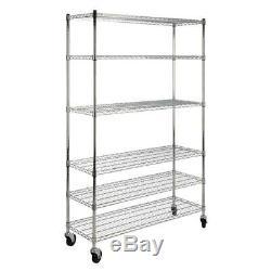 6 Shelf Rolling Wire Rack Garage Storage Shelves Organizer Cart Chrome 76 In New