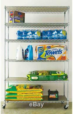 6 Tier Shelving Unit Rolling Storage Rack Home Garage Adjustable Shelf Organizer
