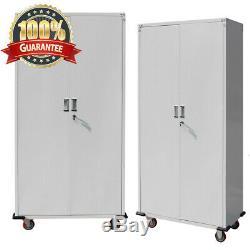 71Tall Steel Garage Storage Cabinet on Wheels Rolling Heavy Duty Tool Chest NEW