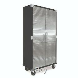 72 Garage Metal Rolling Tall Storage Cabinet Shelving Stainless Steel Doors