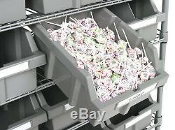 7 Shelf 22 Bin Rack Rolling Storage Shelving Commercial Storing Wire Shelves