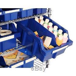 8-Shelf 24-Bin Rack Storage System Tilting Removable Steel Commercial Rolling