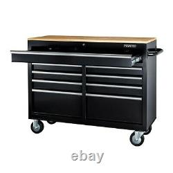 9 Drawer Mobile Storage Cabinet Rolling Tool Workstation With Solid Wood Top New