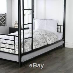 BUNK BEDS KIDS Black Metal Twin Bed Roll-Out Trundle Frame Storage Save Space