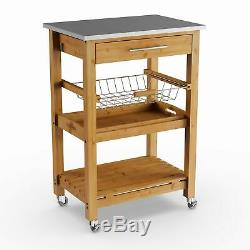Bamboo Kitchen Cart Storage Rack Shel Shelves Rolling Stainless Steel Top Wood