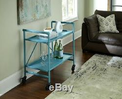 Bar Cart With Wheels Teal Blue Utility Rolling Folding Serving Storage Table