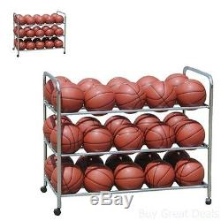 Basketball Rack Storage Cart Rolling Hold 30 Ball Sport Volleyball Soccer Steel