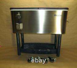 Beacon RC11065SS Rolling Party Cooler Stainless Steel Body, Storage & Wheel Cart