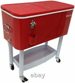Beacon Rolling Party Cooler, Red Steel with Metal Storage, Stand & Wheel