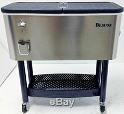 Beacon Rolling Party Cooler Stainless Steel Body with Storage & Wheel Cart, 65