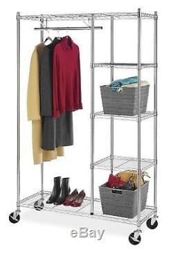 Bedroom Closet Clothing Storage Commercial Grade Rolling Garment 4-Shelves Rack