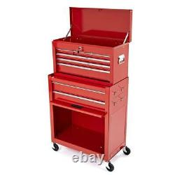 BikeTek Steel Rolling Tool Cabinet Red 8 Drawers Top Chest Box Garage Storage