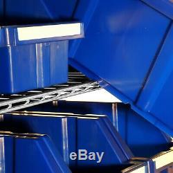 Bin Rack Storage Shelving Rolling Steel 8 Shelves 24 Plastic Bins Commercial