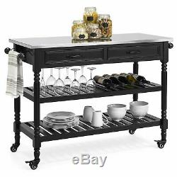 Black Kitchen Island Rolling Utility Cart Stainless Steel Storage Prep Table Top