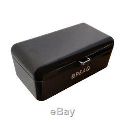 Black Retro Bread Bin Steel Powder Coated Loaf Storage Food Kitchen Rolls Slice