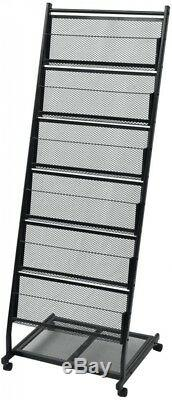 Black Rolling Magazine Rack 6 Large Shelves A4 Brochures Book Storage Stand New