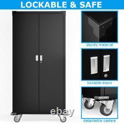Black Steel Storage Cabinet Rolling Metal Storage with 4 Adjustable Shelves&Lock