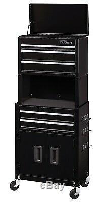 Black Steel Storage Swivel Pegboard 5 Drawer 20 Rolling Tool Chest Cabinet Box