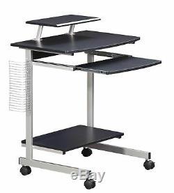 Black Wooden Metal Mobile Desk Computer Cart Rolling Office Storage CPU Printer