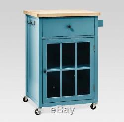 Brand New Windham Kitchen Island Rolling Storage Cart Wood Top Cabinet Shelf