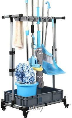 Broom Mop Holder Rolling Cart Floor Stand Cleaning Tool Organizer Storage Rack