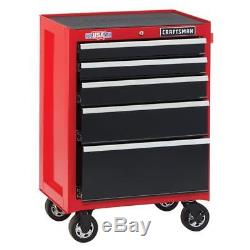 CRAFTSMAN Heavy-Duty Steel Open Till 5-Drawer Rolling Storage Tool Cabinet Red