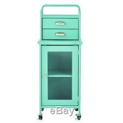 Cabinet Storage Bin Steel 2-Drawer Rolling Cart Home Decoration Matte Blue New
