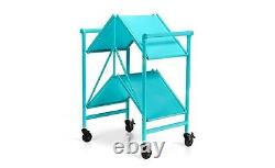 Cart With Wheels Teal Blue Utility Rolling Folding Serving Bar Storage Table