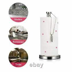 Chrome Metal Tissue Kitchen Roll Holder Paper Towel Storage Stand Rack Dispenser