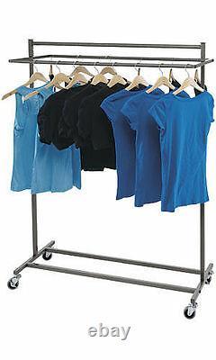 Clothing Rack Steel Double Rail Salesman Retail Store Garment Rolling 48 x 72