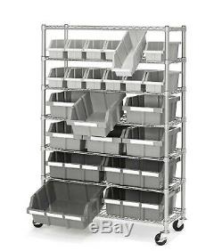 Commercial Garage Rolling 22 Bin Storage Rack Steel Frame Shelving Unit 4 Wheels