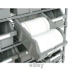 Commercial Garage Rolling 22 Bin Storage Rack Steel Frame Shelving Unit 4 Wheels