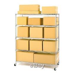 Commercial Garage Steel Rolling Storage Shelving Rack 4 Wheels 60 x 24 x 72