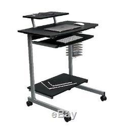 Computer Cart Desk Techni Mobili Rolling Compact With Storage Graphite Brand NEW