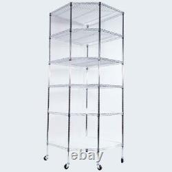 Corner Display Wire Steel 6-Tier Shelf Garage Storage Rack Rolling Wheels