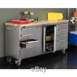 Corner Rolling Workbench Tool Storage Mobile Wood Table Top 6 Ft Stainless Steel