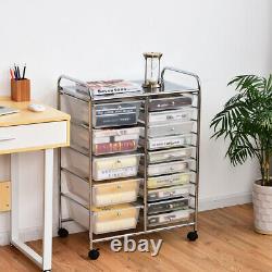 Costway 15 Drawer Multifunctional Organize Rolling Storage Cart Home Kitchen