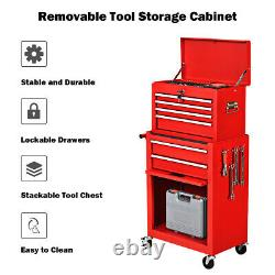 Costway 2 in 1 Rolling Cabinet Storage Chest Box Garage Toolbox Organizer Red