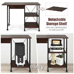 Costway Rolling Foldable Computer Desk Writing Office With Storage Shelves