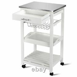 Costway Rolling Kitchen Trolley Cart Stainless Home WithStorage Basket Drawers