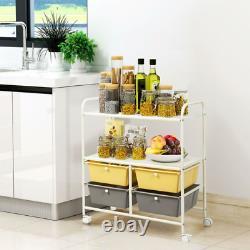 Costway Rolling Storage Cart with4 Drawers 2 Shelves Metal Rack Shelf Utility Orga