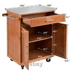 Costway Wood Kitchen Trolley Cart Stainless Steel Top Rolling Storage Cabinet
