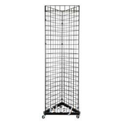 Display Grid Rack 3 Panels Rolling Steel Retail Wall Store Craft Show Art Stand