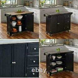 Drawer Cabinet Rolling Cart Drop Leaf Home Lockable Kitchen Closed Storage 53 in