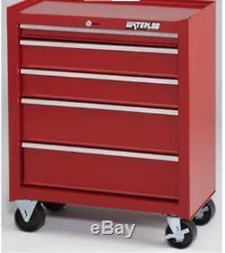 Drawer Tool Box Cabinet Storage Organizer Garage Chest Wheel Rolling Parts Red