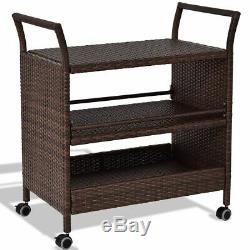 Durable Rattan Rolling Serving Cart Storage Shelves Rack