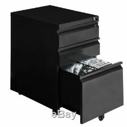 File Cabinet Rolling Mobile A4 Drawers Pedestal Storage Steel Home Office Black