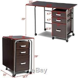 Folding Computer Table Laptop Desk Rolling Office Furniture File Cabinet Storage