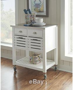 Fulton Kitchen Cart with Stainless Steel Top Wood Island Storage Rolling Trolley